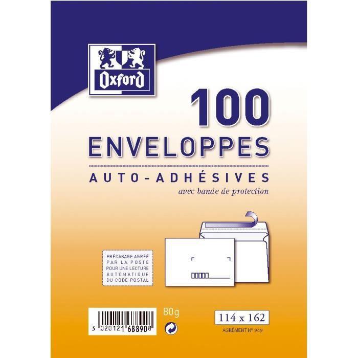 OXFORD 100 enveloppes pré-casées auto-adhésives - 16,2 cm x 11,4 cm x 5 cm