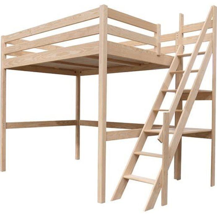 lit mezzanine sylvia avec escalier de meunier bois 3760240540908 achat vente lit mezzanine. Black Bedroom Furniture Sets. Home Design Ideas