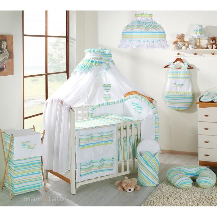 parure b b 14 pi ces vert d 39 eau 60x120cm achat vente parure de lit b b 0634654696908. Black Bedroom Furniture Sets. Home Design Ideas