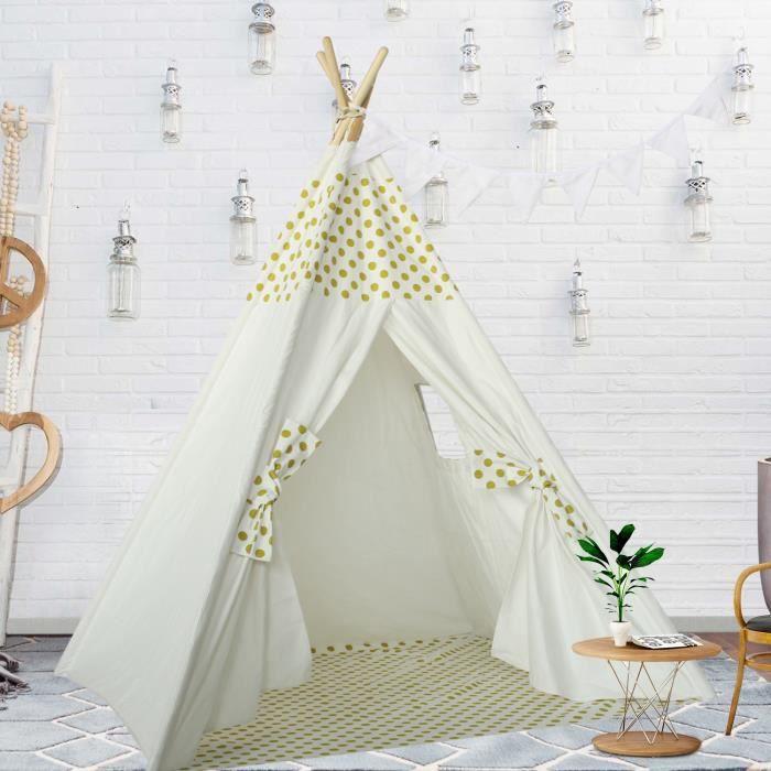 tipi enfant point jaune avec tapis pour chambre de gar on ou fille achat vente tente tunnel. Black Bedroom Furniture Sets. Home Design Ideas