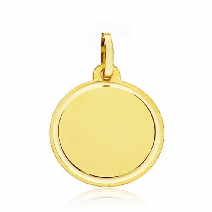 Médaille pendentif 18k coupe du disque 18mm lisse - AA1923
