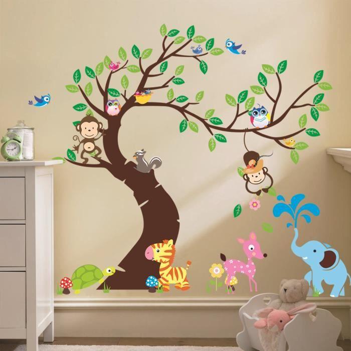 STICKERS Stickers muraux Enfant arbre et animaux mignons