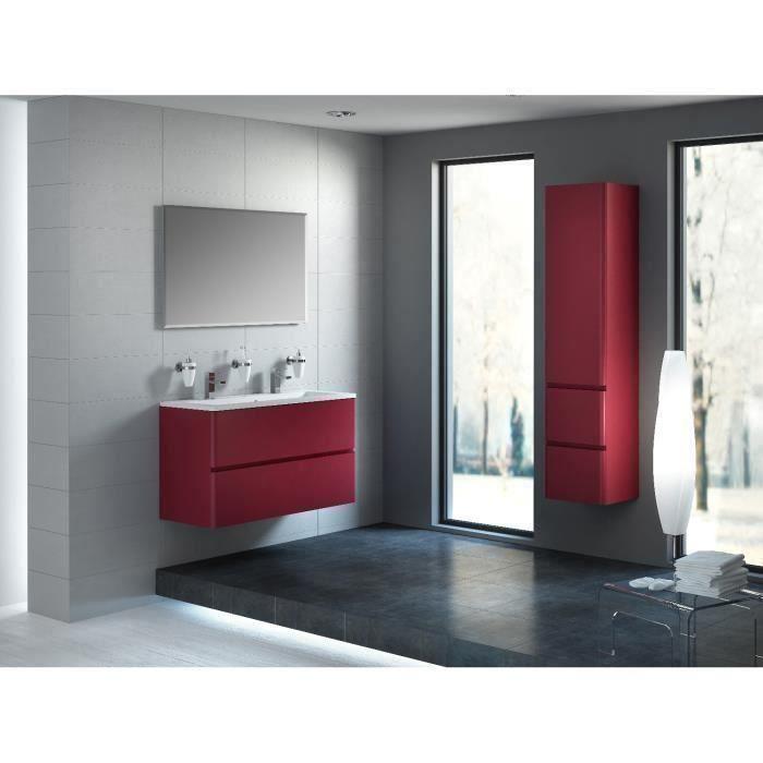 meuble salle de bain rouge bordeaux