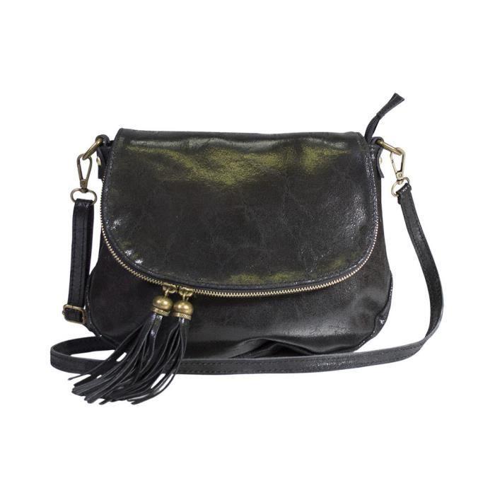 sac 2 pompons bandouliere femme cuir veritable lisse noir. Black Bedroom Furniture Sets. Home Design Ideas