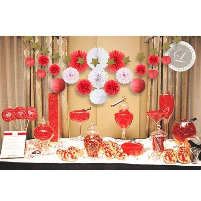 20pcs Salon Chambre Rouge Blanc Mariage Decoration Papier De Soie Pompon Rosace Lampion Boule Chinoise