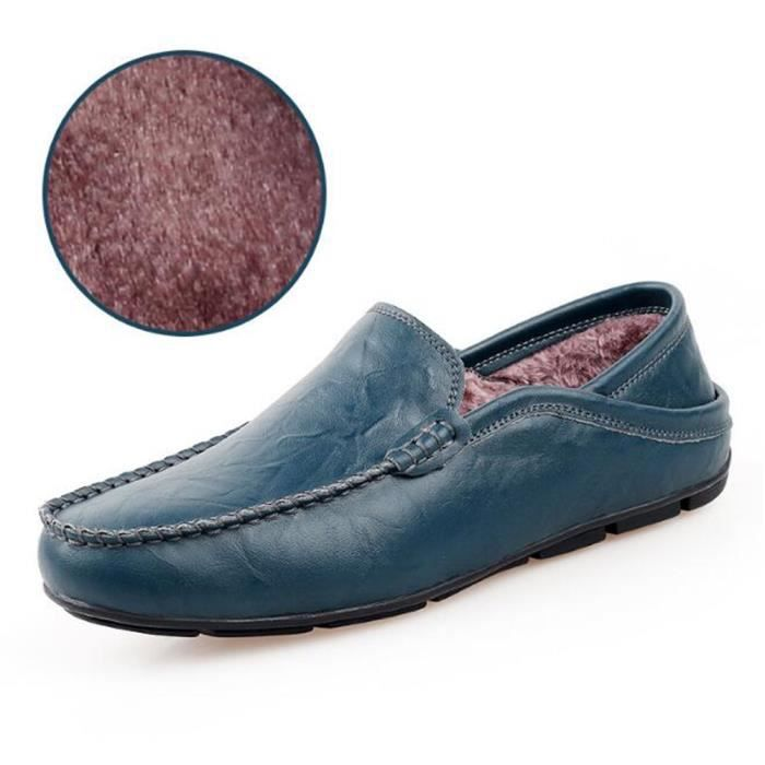 chaussures homme Durable 2017 Hiver Confortable chaud Moccasin Luxe En Cuir Mode Poids Léger Antidérapant Grande Taille