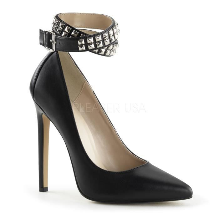 Pleaser SEXY-24 5 Inch Heel Studded Ankle Wrap Pump