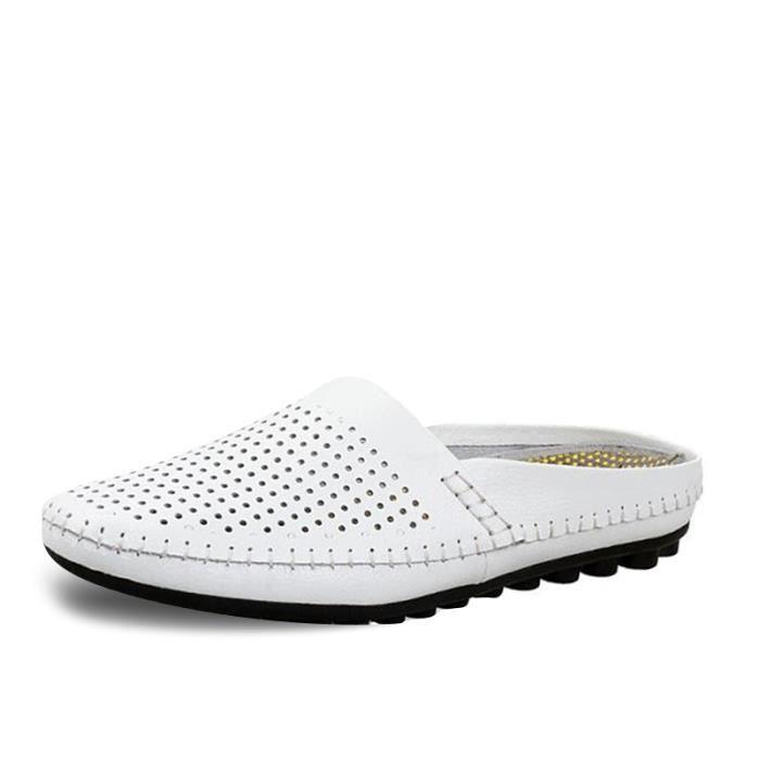 Chaussures Hommes Cuir Printemps Ete Mode Respirant détente Chaussure BDG-XZ082Blanc39 xGWP64PR
