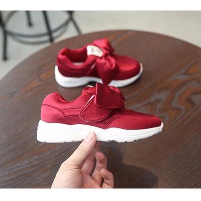 Baskets à lacets pour filles chaussures de sport d'arc de mode Princesse mignonne chaussures de sport occasionnels taille 26-36