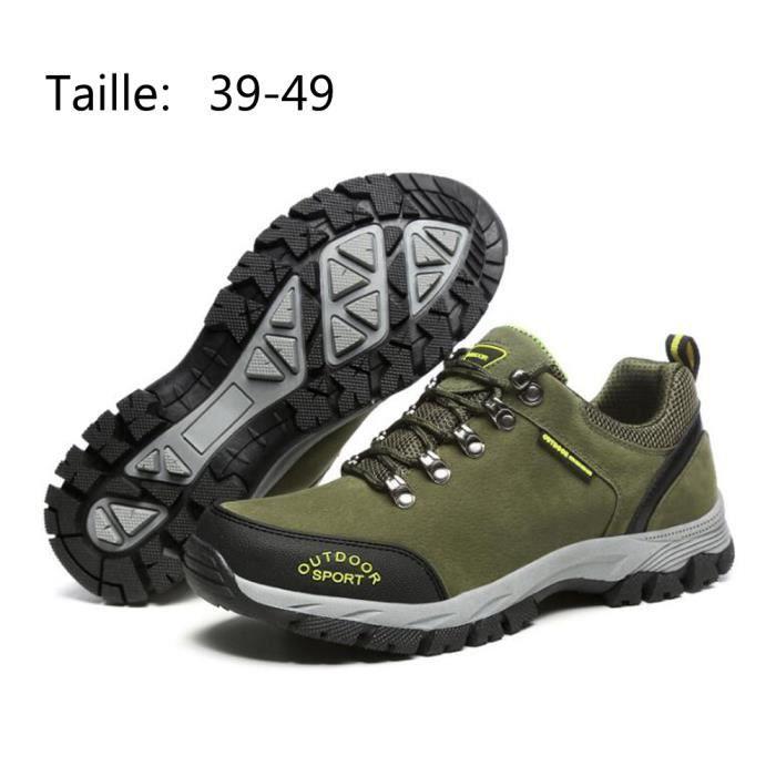 d9a9df7c033 Chaussure Homme Randonnée Marche Voyage Imperméable Confort Maintien Vert