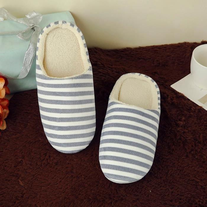 Chaussures Intérieur Rayé Femmes Antidérapante marine Maison Hommes Survêtement Hiver Slipper q8UCR