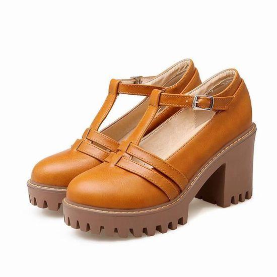43 Femme La 35 De à Plateforme Ronde Cuir Chaussures élégante Pu Les Pointures En Toutes H9EDIW2