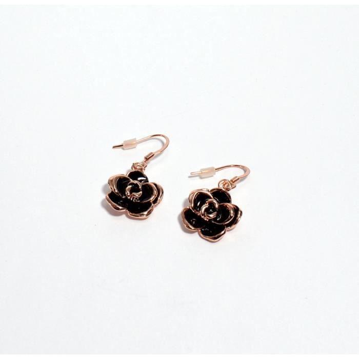 Boucles dOreilles Cuivrée Fleur Noire