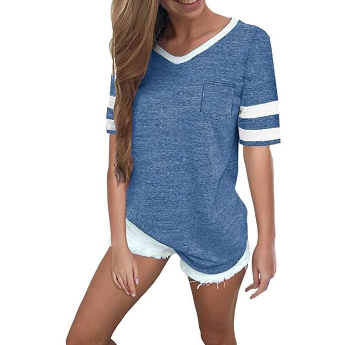 De À Décontracté Poche shirt Col V Bleu Tops Courtes D'été Chemisier Manches Femmes T wHqCvv