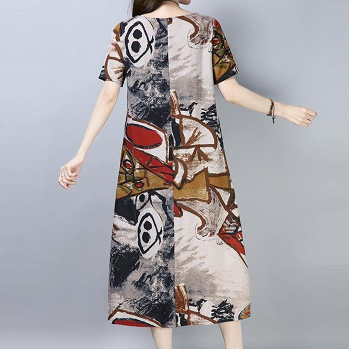 À Lâche Robe Courtes Ethnique Coton cou Florale Lin Femmes Gris Style O Manches POqYx