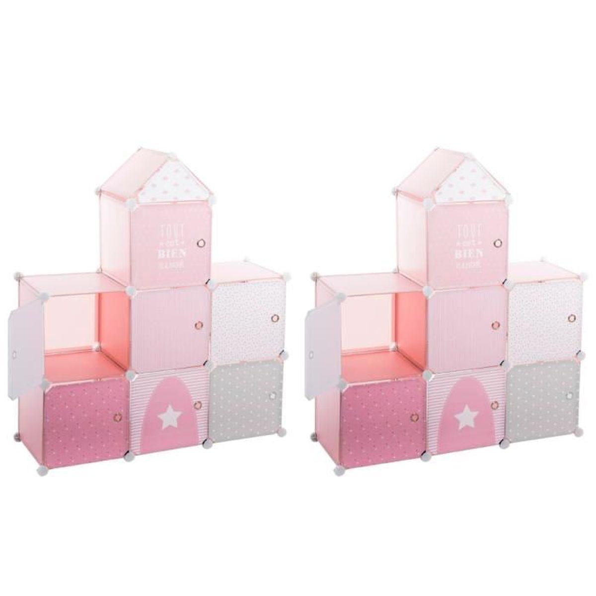 Lot de 2 - Rangement château Rose pour Enfant Rose - Achat / Vente ...