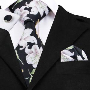 CRAVATE - NŒUD PAPILLON Hi Tie ensemble de cravates en soie à fleurs blanc  ... dc69e7dcd6b7