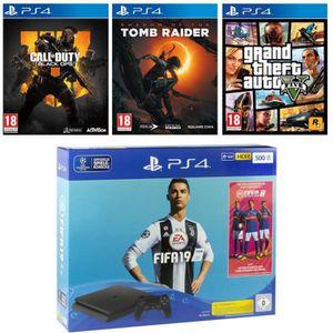 CONSOLE PS4 NOUVEAUTÉ Pack PS4 500 Go + 4 jeux : FIFA 19 + Call of Duty