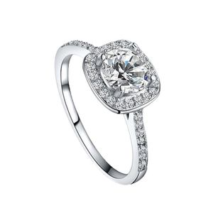 BAGUE - ANNEAU elegant rond carre diamant anneau de mariage bijou