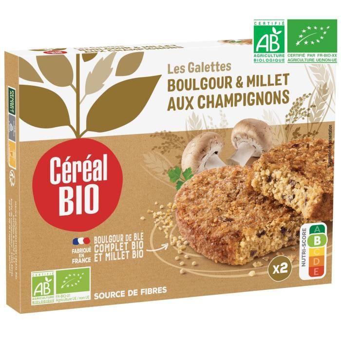 CEREAL BIO Galettes de céréales cuisinées Bio de boulghour, millet et champignons de Paris Bio - 200 g