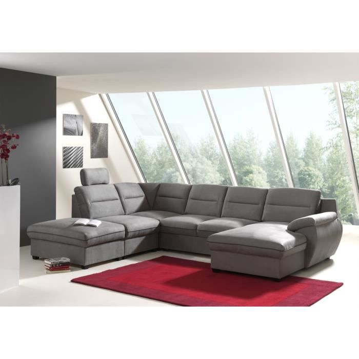 Canape D Angle Panoramique Convertible Tissu Gris Stan Achat