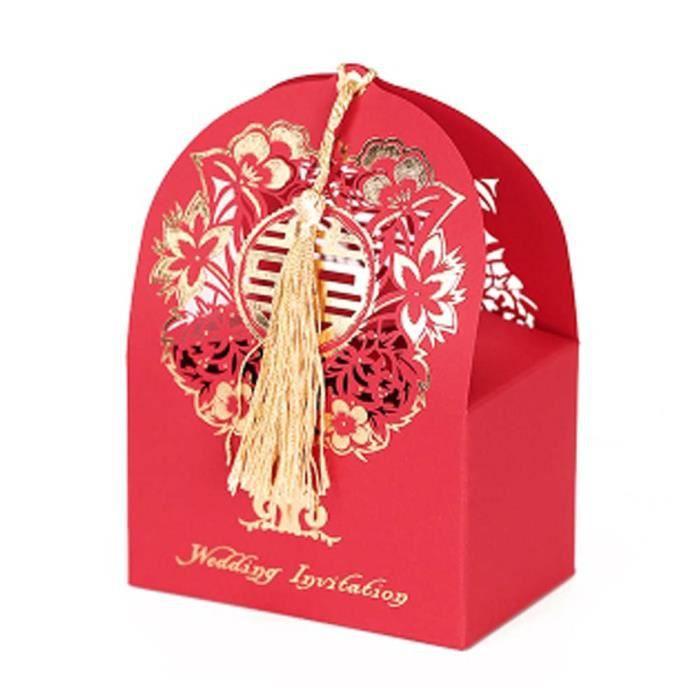 R Lot De 10 Boîtes Décoratives Cadeaux Chinois Style De Mariage Bonbons Boîtes De Carton