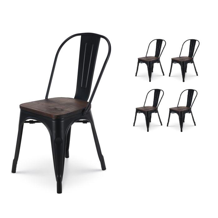 fr Kosmi Et Assise Foncé Bois Noir Métal Mat Style Industriel De Factory Chaises 4 Lot QrCtdhs