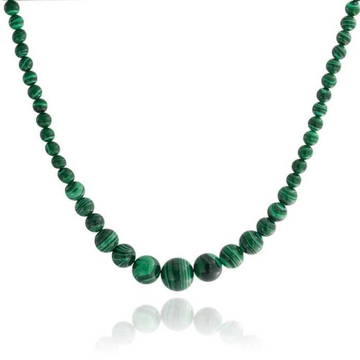 Collier En Turquoises Vertes Malachite 40Cm