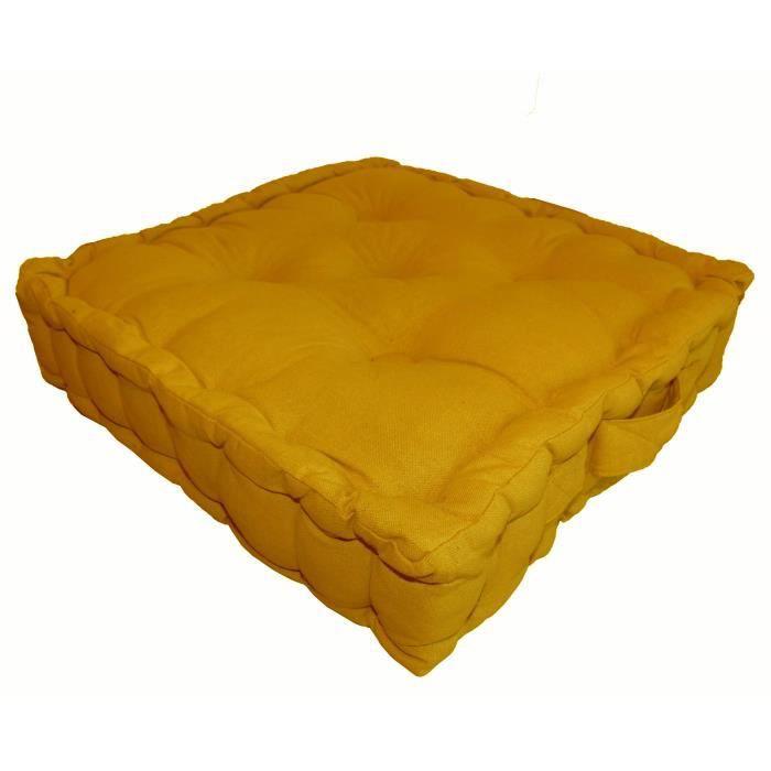 COUSSIN - MATELAS DE SOL Coussin de sol 100% coton 40x40x9 cm MOUTARDE