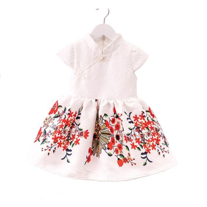 2-7 ans Les filles Floral Robe Princesse Rétro robe printemps automne