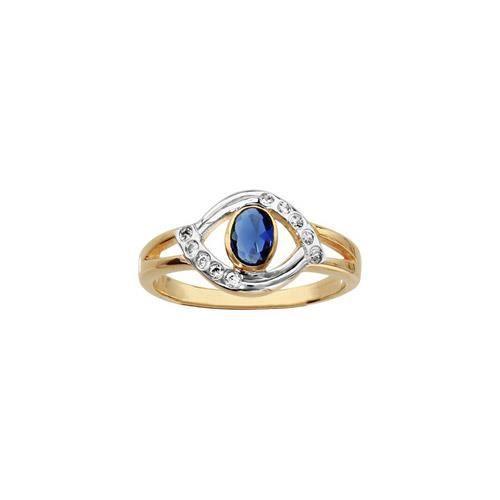 Bague plaqué or 2 tons plateau oval pierre bleue c