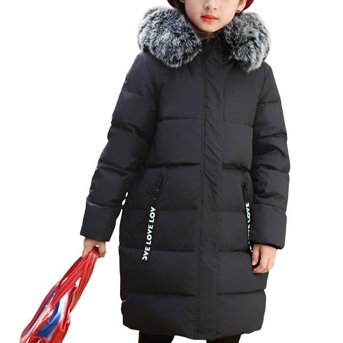 Noir Mignon Doudoune Enfant Fille à Capuche Fourrure épaisse Manteau  Automne Hiver En duvet de canard Grande Taille 6 - 14 ans e09a63b4420