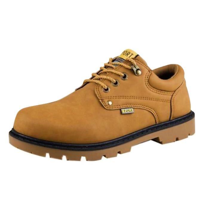 Minetom Homme Britannique Style Pu Cuir Chaussures De Sécurité De Travail Confortable Décontracté Lacets Plate Shoes Sneakers YKaq5Tkn