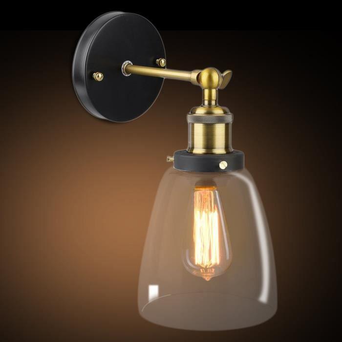 Applique Murale Lustre Lampe Suspemsion Abat Jour En Verre Vintage