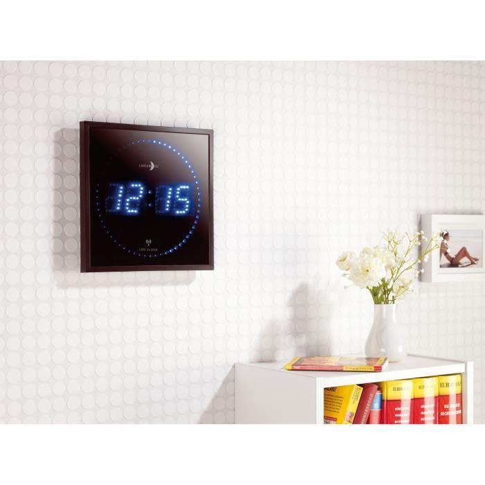 192e0dcc6f39e6 Horloge digitale murale avec 60 LED - Radiopilotée - Bleu - Achat ...