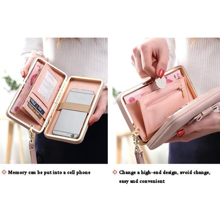 ac9b7389fd8b Hicollie® Femme Multifonction Porte Chéquier Portefeuille Porte-monnaie Sac  Main Cadeau