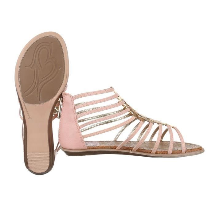 femme sandale chaussure chaussures d'été chaussures de plage Strappy escarpin rose