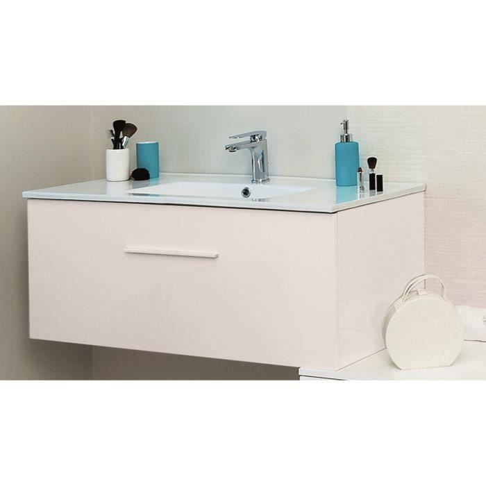 91x44x34cm - Ensemble Meuble de salle de bain TERRY - 1 Tiroir+Miroir simple+Vasque céramique- Blanc.SALLE DE BAIN COMPLETE