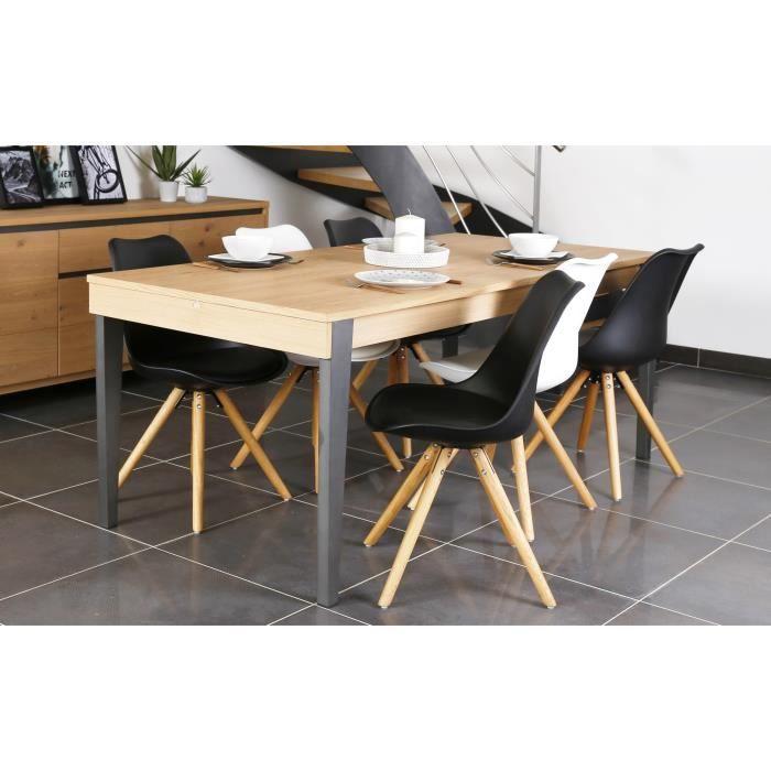 Bricklane table à manger extensible 8 à 12 personnes 190 270x90 cm plaqué chêne blanchi et gris