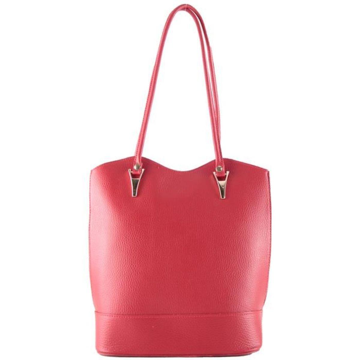 Sac Cuir Femme Porté Dos ou Epaule (Rouge - TU) - Achat   Vente sac ... 1ceb6cc8cb5b