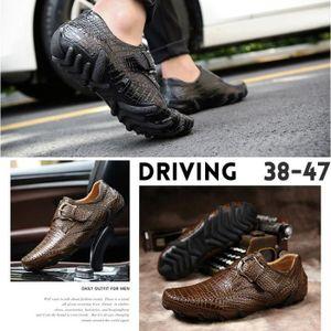 MOCASSIN pour Hommenoir 47 Mode respirante Chaussures de conduite en cuir pour occasionnels anti-patinage (noir, brun)_46222