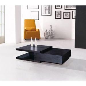 Table Basse Design En Bois Vernis Noir Sophia