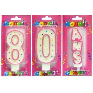BOUGIE ANNIVERSAIRE 1 Pack bougie géante blanche et rose anniversaire