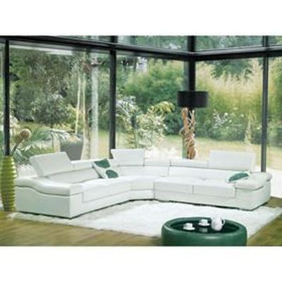 Grand Canape D Angle Cuir Blanc Tetieres Ajustab Achat Vente