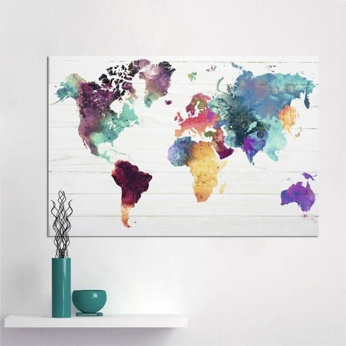 taille l peinture toile canevas sans cadre carte du. Black Bedroom Furniture Sets. Home Design Ideas