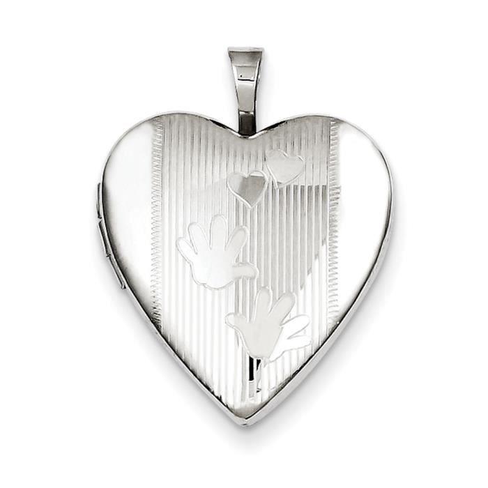 Argent Sterling 20 mm mains-Médaillon en forme de cœur