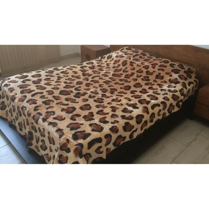 couverture de luxe 240x220cm fausse fourrure plaid en tissu peluche microfibre l opard achat. Black Bedroom Furniture Sets. Home Design Ideas