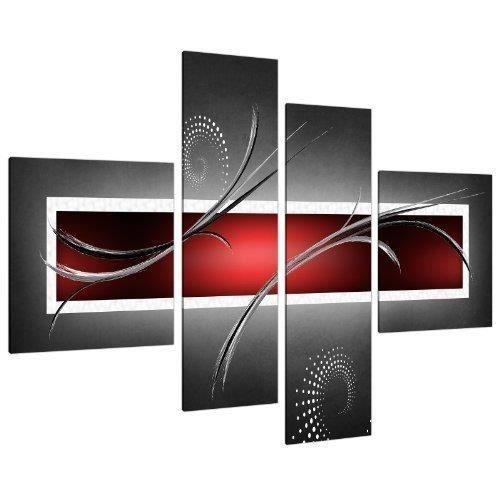 Tableau abstrait rouge et gris achat vente tableau for Tableau impression sur toile
