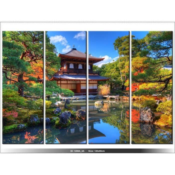 120 x 80cm - JARDIN - JAPON - TABLEAU MULTI PANNEAUX - MODERNE ...