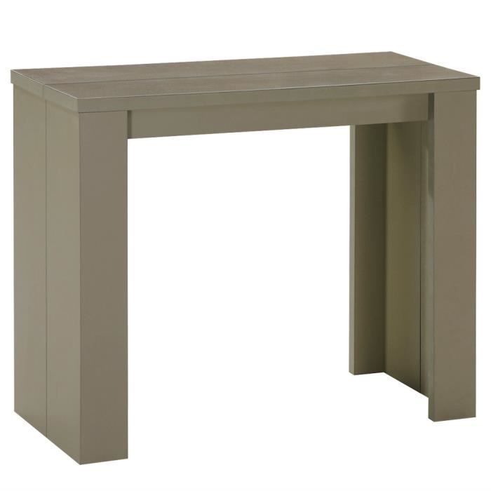 console extensible pas cher 3 rallonges taupe prisca - achat